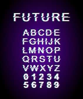 Future glitch font template. retro futuristic style  alphabet set on violet background. capital letters, numbers and symbols. contemporary typeface design with distortion effect