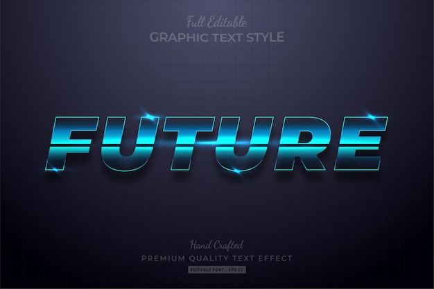 Future glow blue editable text effect font style