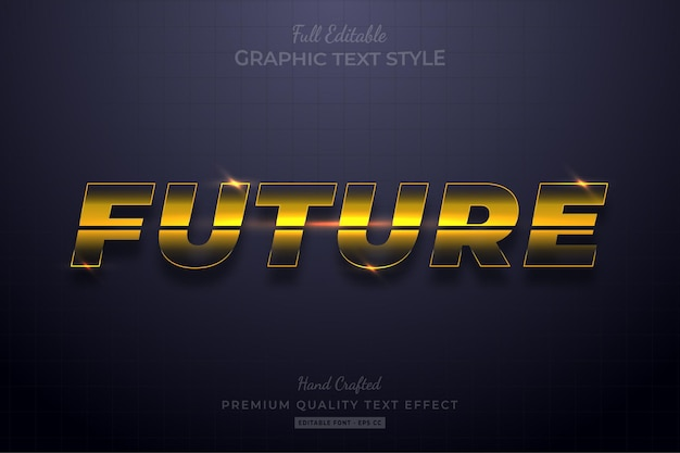 Future glow yellow editable text effect font style