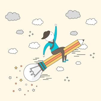 미래 성장 개념:비행 전구 연필을 타고 선 스타일로 하늘을 나는 사업가