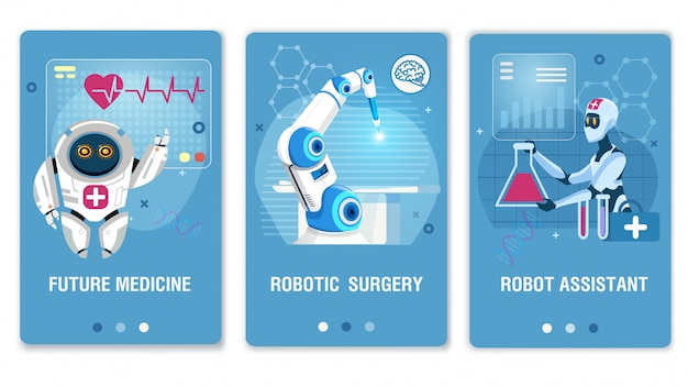 Future healthcare technology mobile webpage set