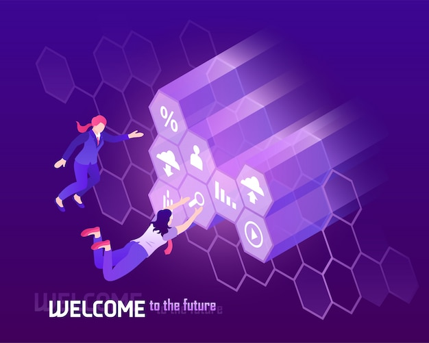 Future high technology with people in front of big monitor isometric illustration