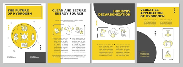 Future of hydrogen brochure template. natural energy source. flyer, booklet, leaflet print, cover design with linear icons. vector layouts for presentation, annual reports, advertisement pages