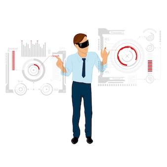 작업 일러스트레이션을위한 미래의 인터페이스