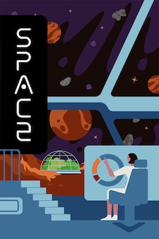 Future interstellar exploration colonizers banner science people in planet colonization mission