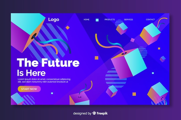 The future is here 3d geometric landing page