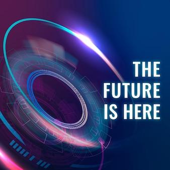 미래는 여기 템플릿 벡터 ai 기술 소셜 미디어 게시물입니다