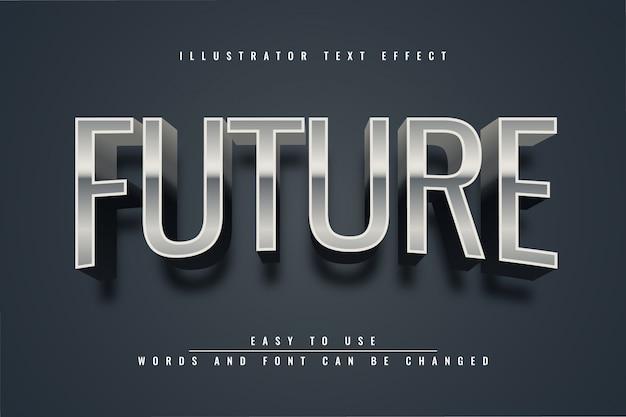 未来-メタリックシルバーの編集可能なテキスト効果