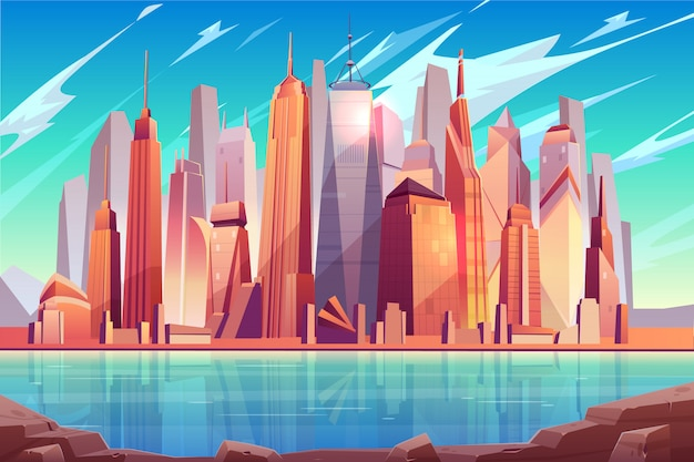 Future metropolis downtown, modern city business center cartoon  background
