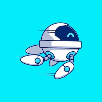 Future modern cute robot vector illustration design is flying fast
