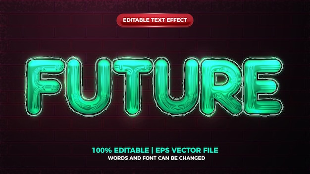 Future neon glow 3d bold editable text effect