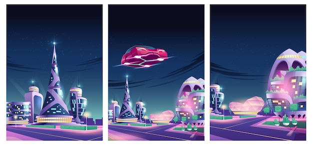 Future night city illustration with flying car and futuristic neon glowing glass buildings
