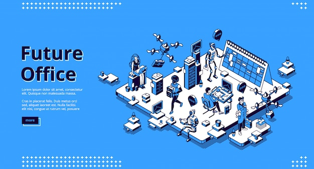 Future office isometric landing page. human and ai robots work together.