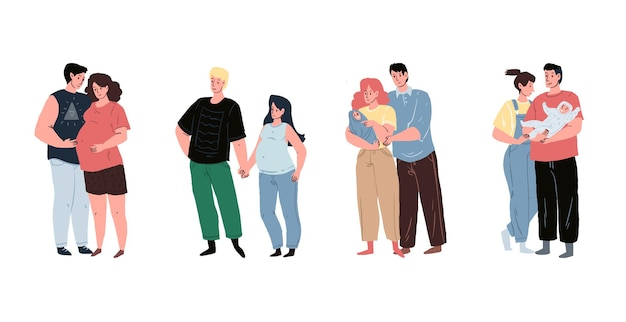 사랑으로 갓 태어난 아기를 바라보는 임신한 엄마와 젊은 가족이 있는 미래의 부모