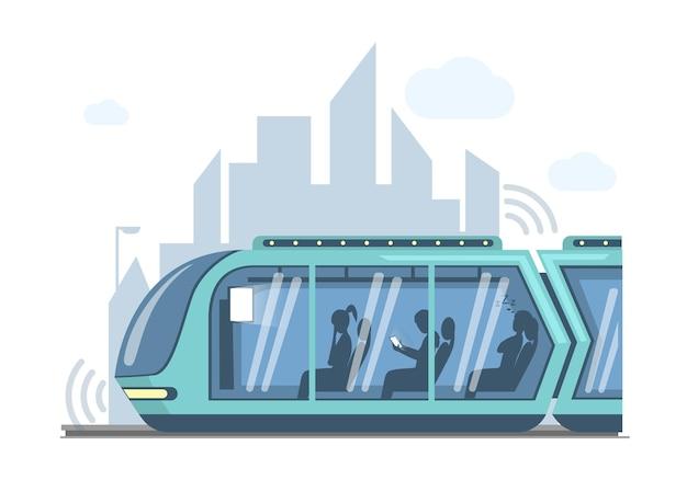 Future public express transport in city vector flat illustration futuristic