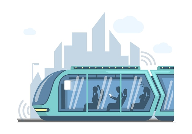 미래의 도시 벡터 평면 그림에서 미래의 대중 교통