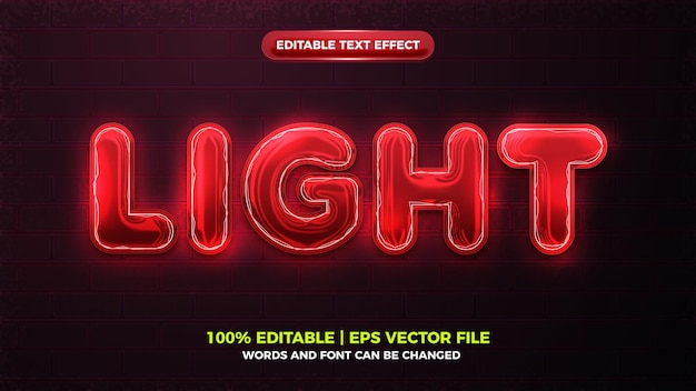 Future red light neon glow 3d bold editable text effect