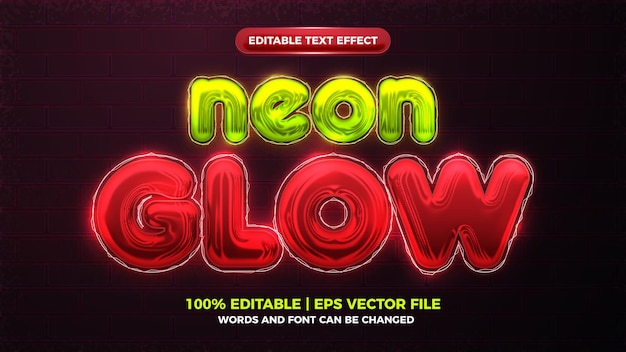 Future red neon glow 3d bold editable text effect