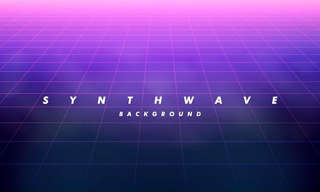 80年代の未来のレトロなラインの背景。 1980年代のポスタースタイルのベクトル未来的なシンセレトロな波のイラスト。