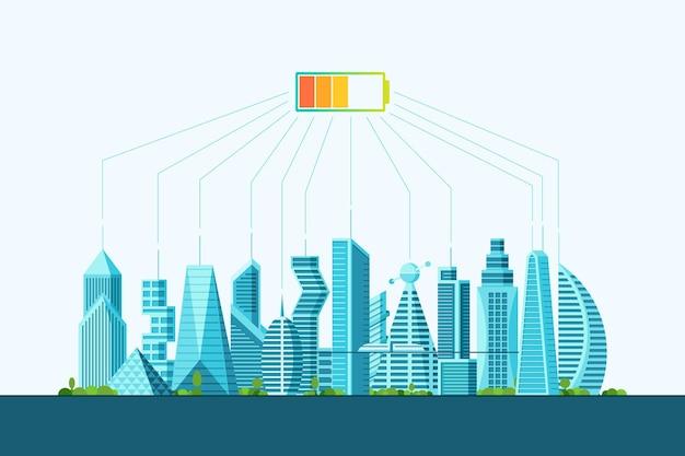 미래의 스마트 에코 시티 대안 청정 태양 에너지 개념. 태양 전지 전력 충전 수준이 있는 도시 풍경. 미래의 다층 사이버 펑크 그래픽 생태 타운 하우스 벡터 평면 그림