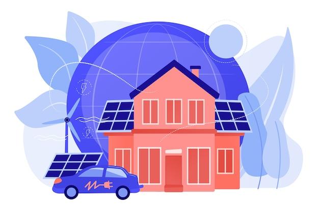 未来のスマートテック。代替電力、エコロジーにやさしいエネルギー。エコハウス、環境に影響の少ない家、エコホーム技術のコンセプト。ピンクがかった珊瑚bluevector分離イラスト