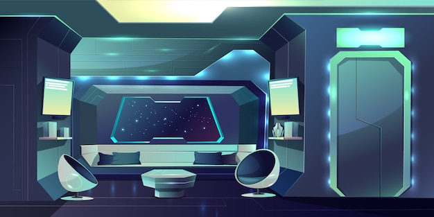 Future spaceship crew cabin futuristic interior cartoon illustration.