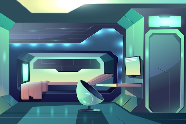Future spaceship crew member personal cabin minimalistic interior with neon ambient light