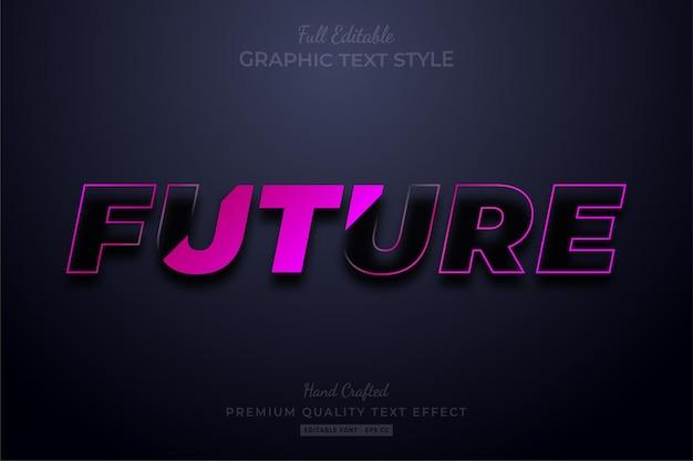 将来のストリップされた編集可能なテキスト効果フォントスタイル
