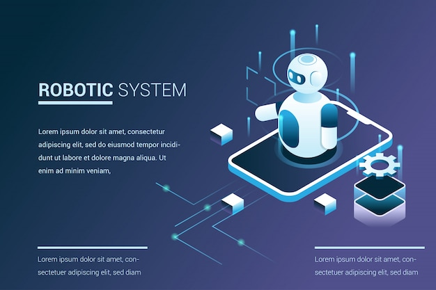 Future system automation with robot capabilities in 3d isometric  style