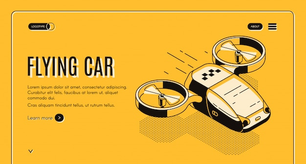 Future taxi service isometric web banner