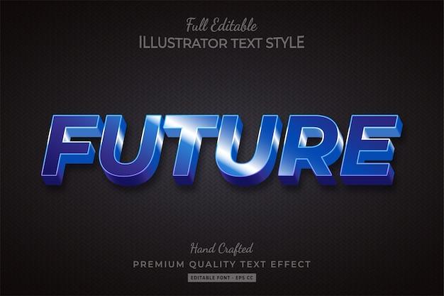 Future techno 3d text style effect premium vector