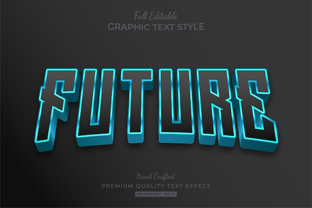 Future techno editable text effect font style