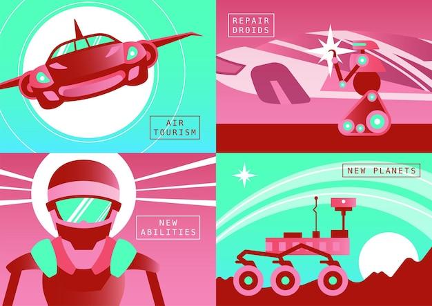 Tecnologie future 2x2 set di concetti di design di droidi di riparazione di turismo aereo planet rover composizioni piatte