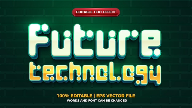 Future technology 3d editbale text effect