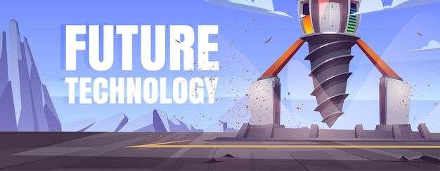 Future technology cartoon banner with futuristic drilling rig, drill ship for exploration and mining.