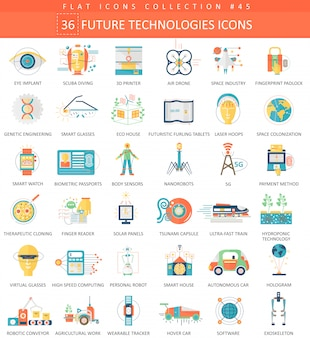 Future technology flat icons set