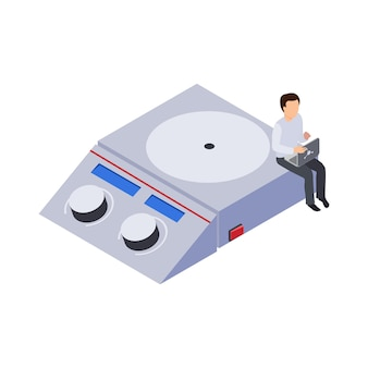 Future technology icon with laboratory equipment and human character at work 3d isometric