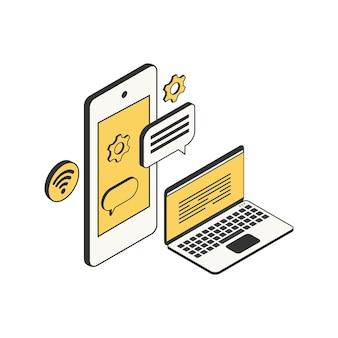 ワイヤレスサイン付きの分離されたスマートフォンとラップトップを備えた将来の技術の等尺性構成