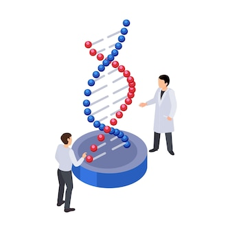 Future technology isometric icon with two human characters and dna strand 3d