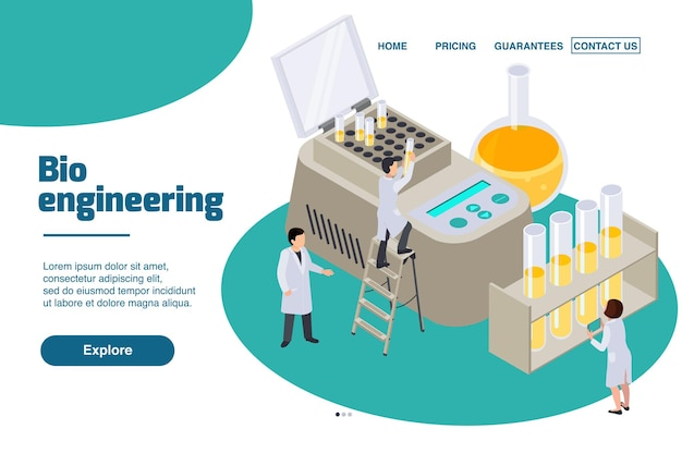 Future technology isometric website landing page with clickable links and illustration