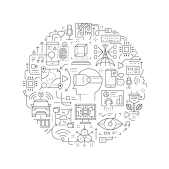 Future technology line icons in round shape isolated