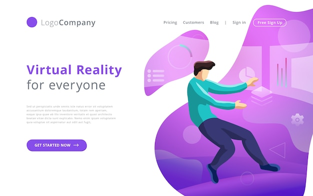 Future technology man into virtual reality touching and editing interface website template