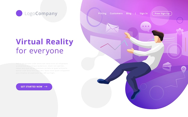 Future technology man into virtual reality touching and editing interface