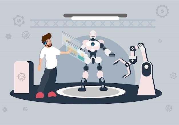 人工知能イラストの未来技術 Premiumベクター