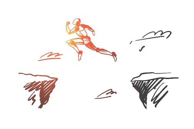 미래, 기술, 진행, 디지털, 로봇 개념. 절벽 개념 스케치 위로 점프 손으로 그린 로봇.