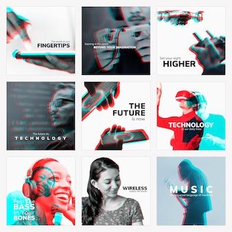 Il futuro della tecnologia psd modello di social media modificabile con doppia collezione di effetti di esposizione a colori