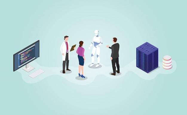 Future technology robot ai artificial intelligence development with isometric modern flat style