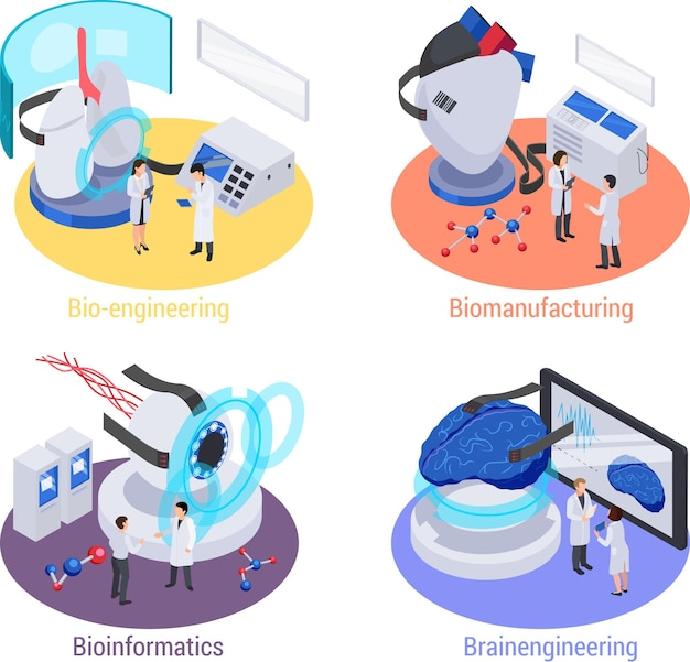 Future technology with lab devices isometric set of isolated illustration