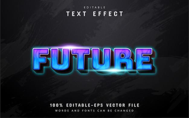 미래 텍스트, 파란색 보라색 그라데이션 텍스트 효과