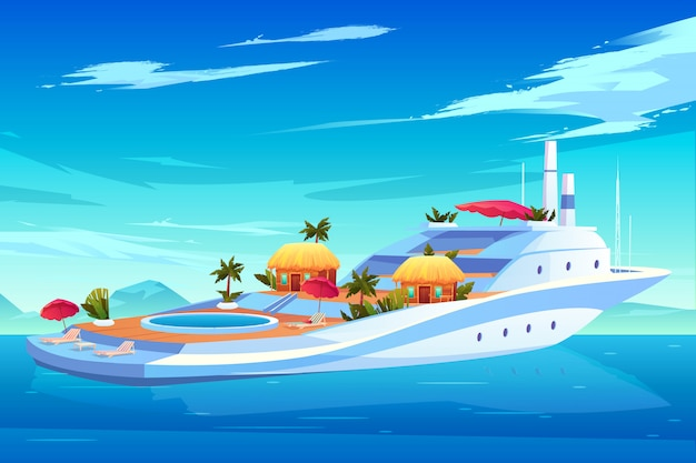 Future yacht, cruise ship or liner, luxury floating hotel with swimming pool, bungalow houses